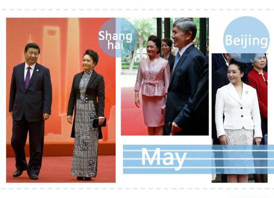 2014年5月,亚洲相互协作与信任措施会议第四次峰会在上海举行,彭麻麻选择了燕尾服式的黑色上衣,并搭配了蜡染印花的海军蓝白长裙。 In May 2014, during the 4th Conference on Interaction and Confidence Building Measures in Asia summit in Shanghai, Peng Liyuan wore a black tailcoat style jacket, and a graphic batik print,